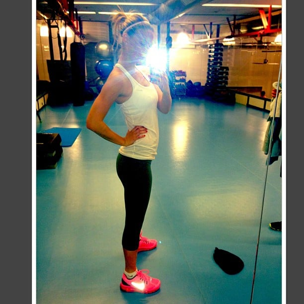 Bar Refaeli shared a photo of her workout. Source: Instagram user barrefaeli