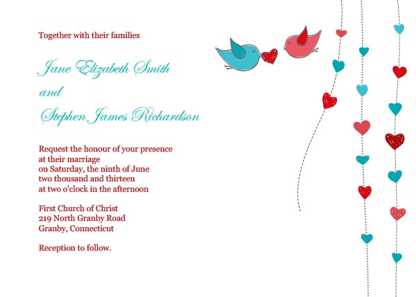 Hearts and Birds Wedding Invitation