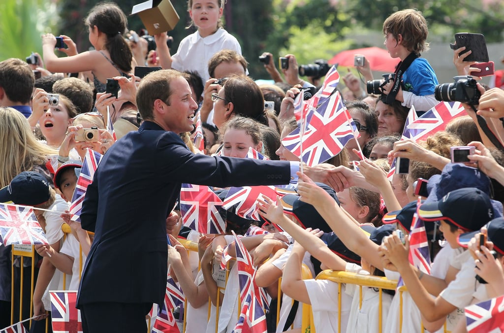 Prince William greeted his younger fans while in Singapore.