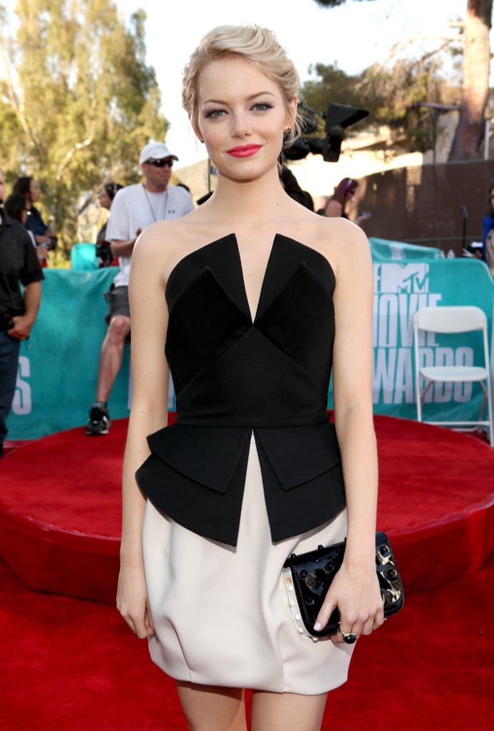 Emma Stone Gets Ready to Pick Up Her MTV Trailblazer Honour at the Movie Awards