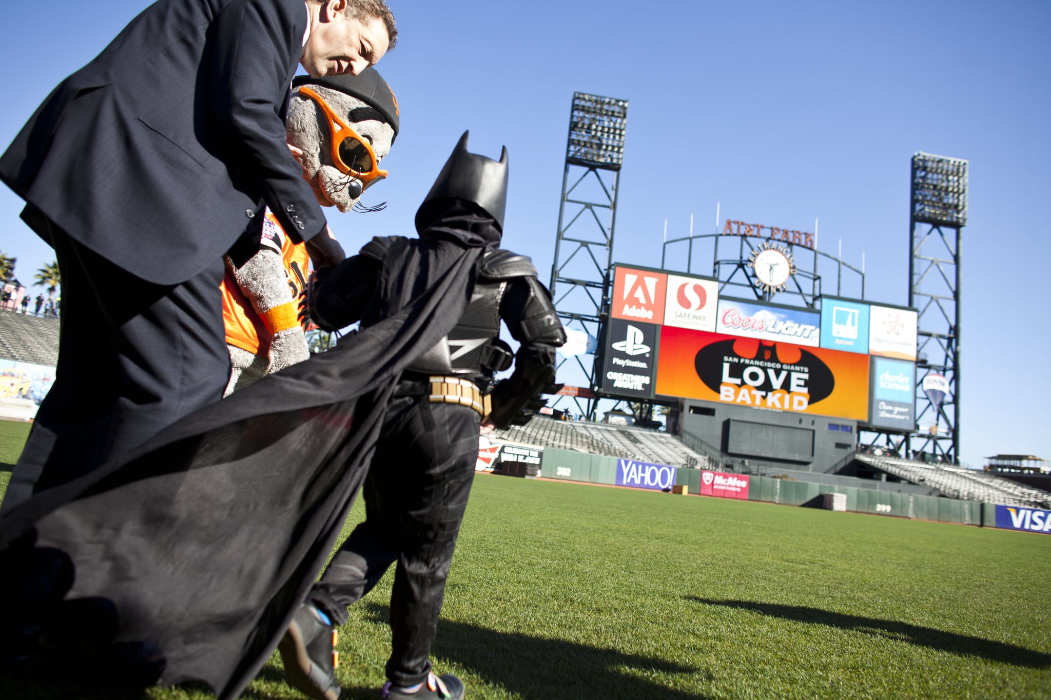 Batkid saved Lou Seal, the Giants mascot, who was kidnapped by the Penguin.