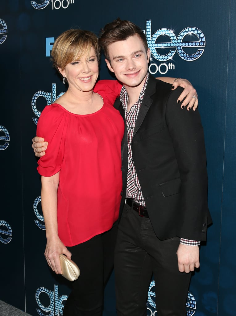 Chris Colfer shared an embrace with his onscreen stepmom, Romy Rosemont.