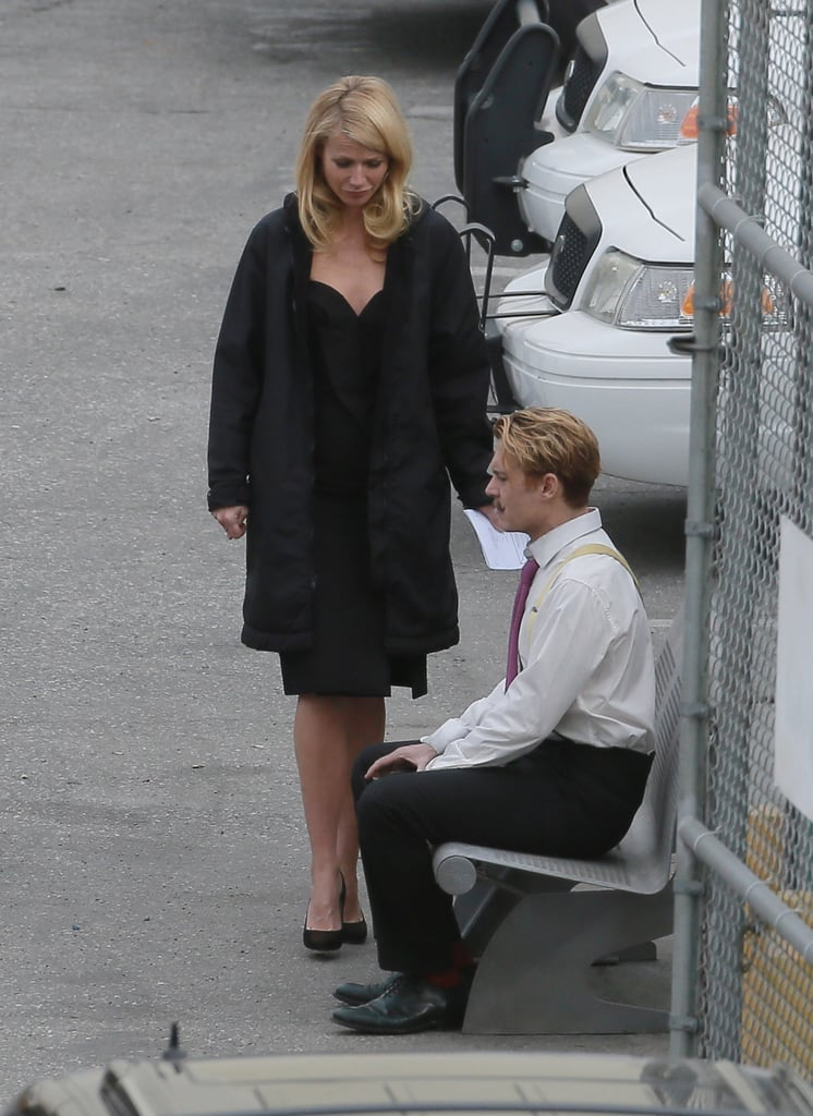 Gwyneth Paltrow and Johnny Depp filmed a scene together on the set of Mortdecai in LA on Tuesday.