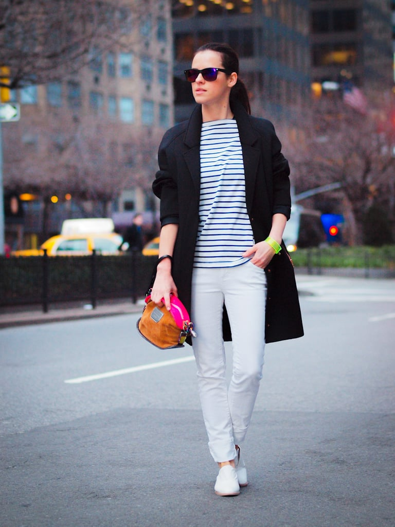 Give your stripes a refresh with bright accessories and Spring's white shoe trend. Source: Lookbook.nu