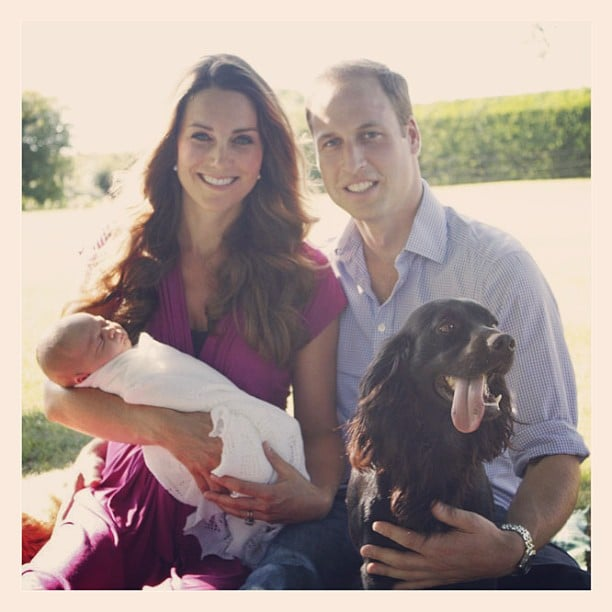 The Palace released Prince George's first family portrait, which included his parents, Kate Middleton and Prince William, as well as their dog, Lupo. The picture was snapped by Kate's dad, Michael Middleton, while the trio visited the Middletons' family home in Bucklebury. Source: Instagram user clarencehouse