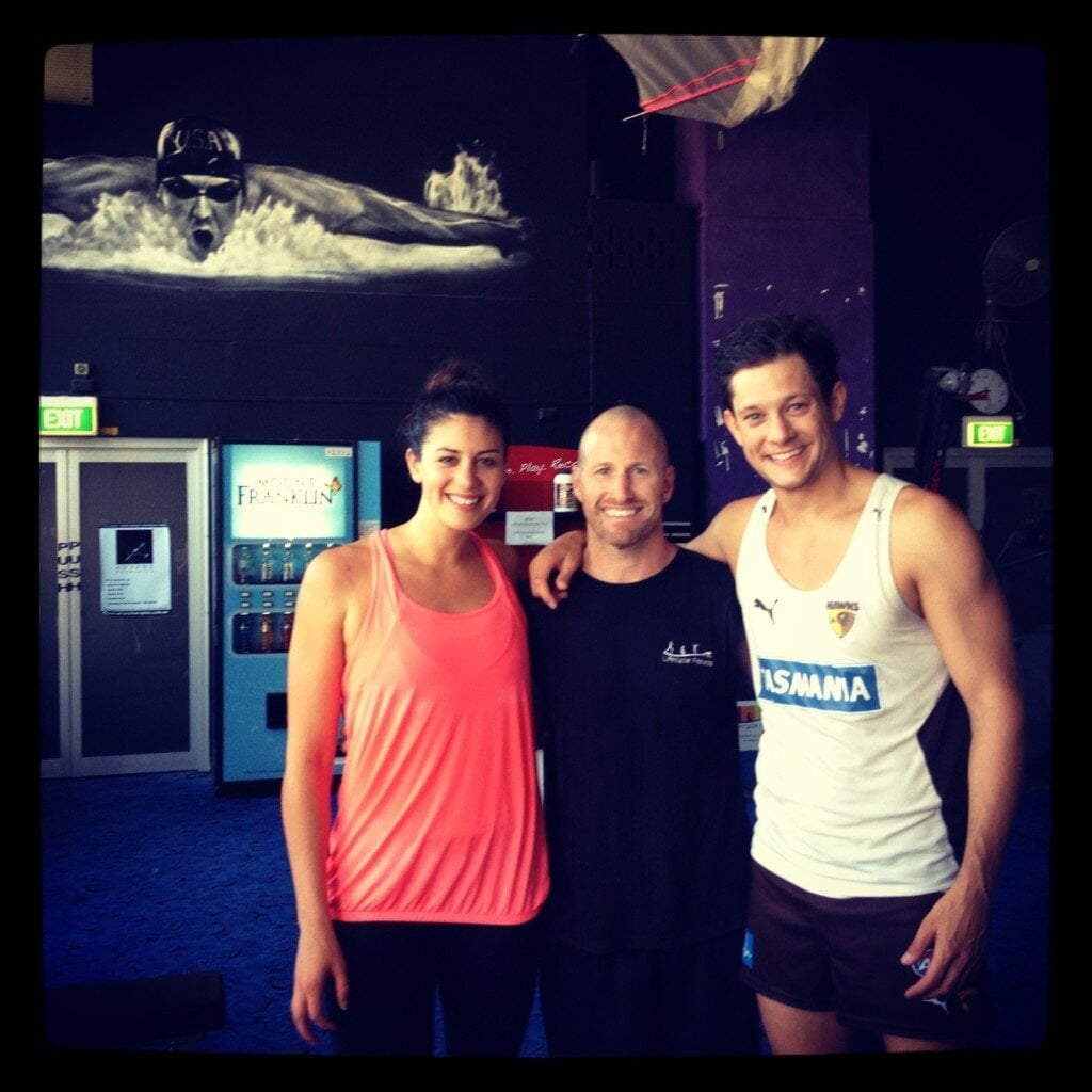 Stephanie Rice and Rob Mills participated in a training day. Source: Twitter user RobMillsyMills