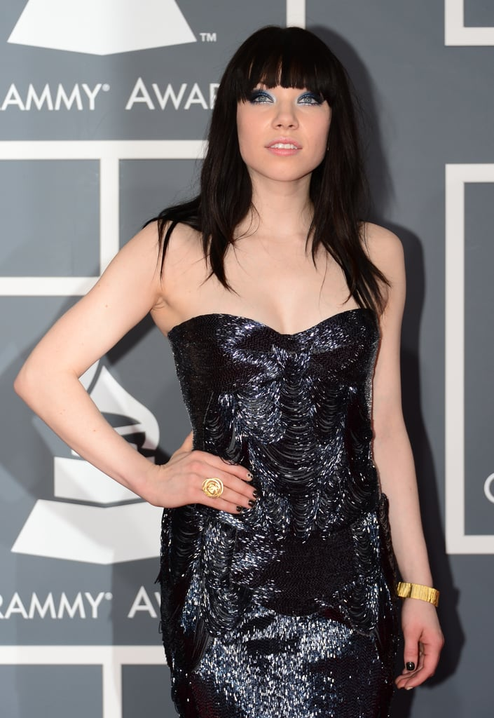 """""""Call Me Maybe"""" singer Carly Rae Jepsen chose a shiny strapless gown for the Grammys."""