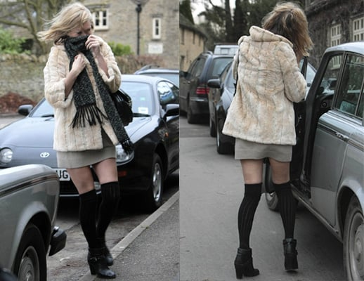 Photos of Kate Moss in Pale Fur Coat in Cotswolds