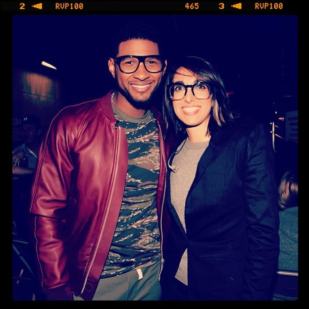 A bespectacled Usher posed with one of his Voice team members, Michelle Chamuel. Source: Instagram user howuseeit