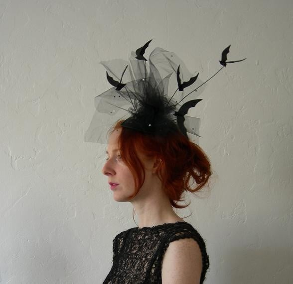 All you really need is a little black dress to go with this leather bat Halloween fascinator ($125).