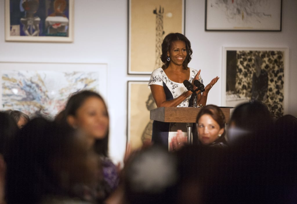 Michelle welcomed the first ladies to the Studio Museum in Harlem.
