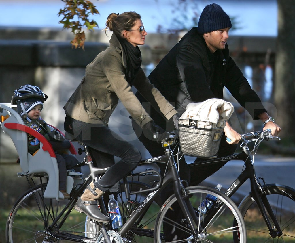 The Bundchen-Brady family went out biking in Boston.