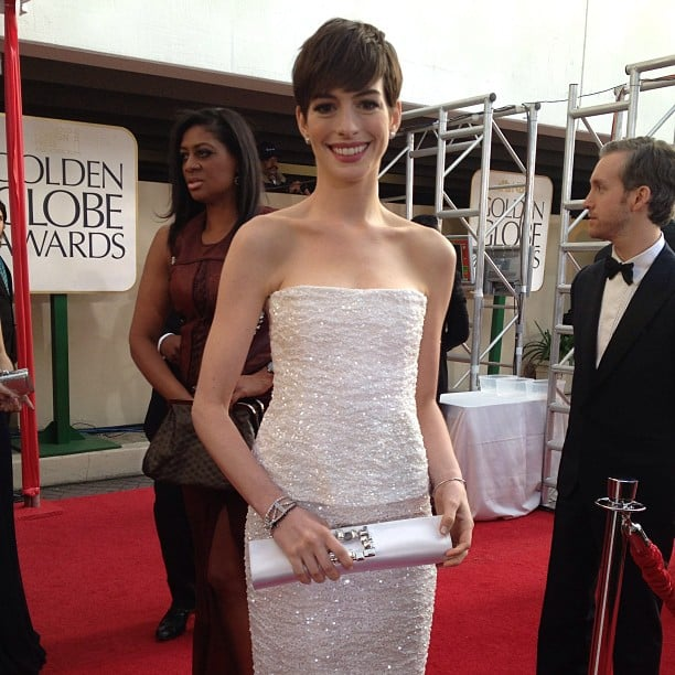 Anne Hathaway made a serious statement at the Golden Globes in a white strapless Chanel gown. Source: Instagram user goldenglobes