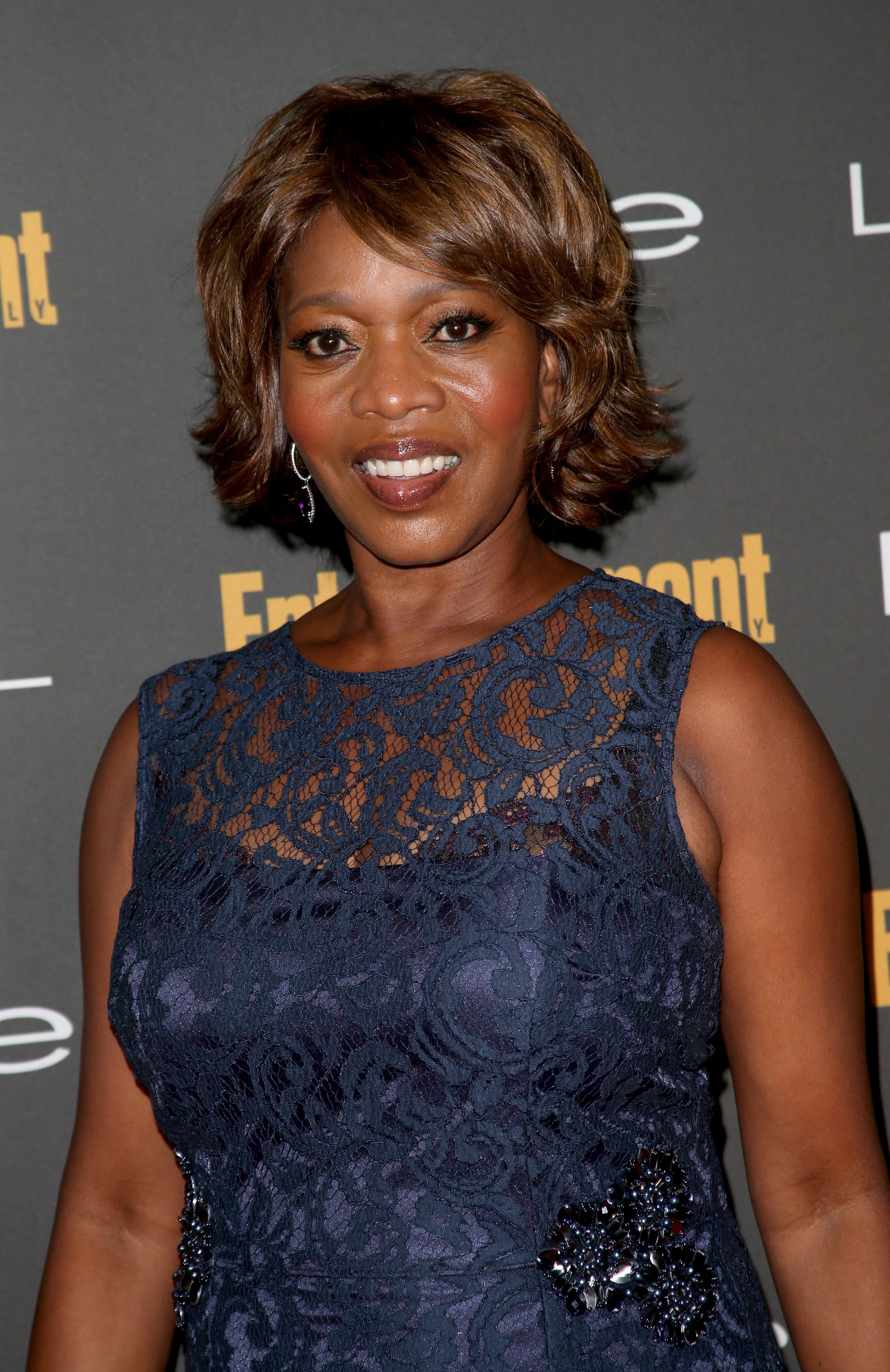 Alfre Woodard looked beautiful with berry lips at Entertainment Weekly's pre-Emmys party.