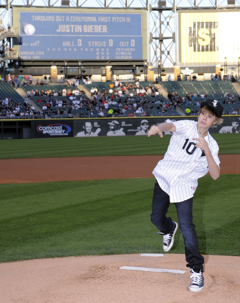 In May 2010, Justin Bieber gave the first pitch his all at a Chicago White Sox game.