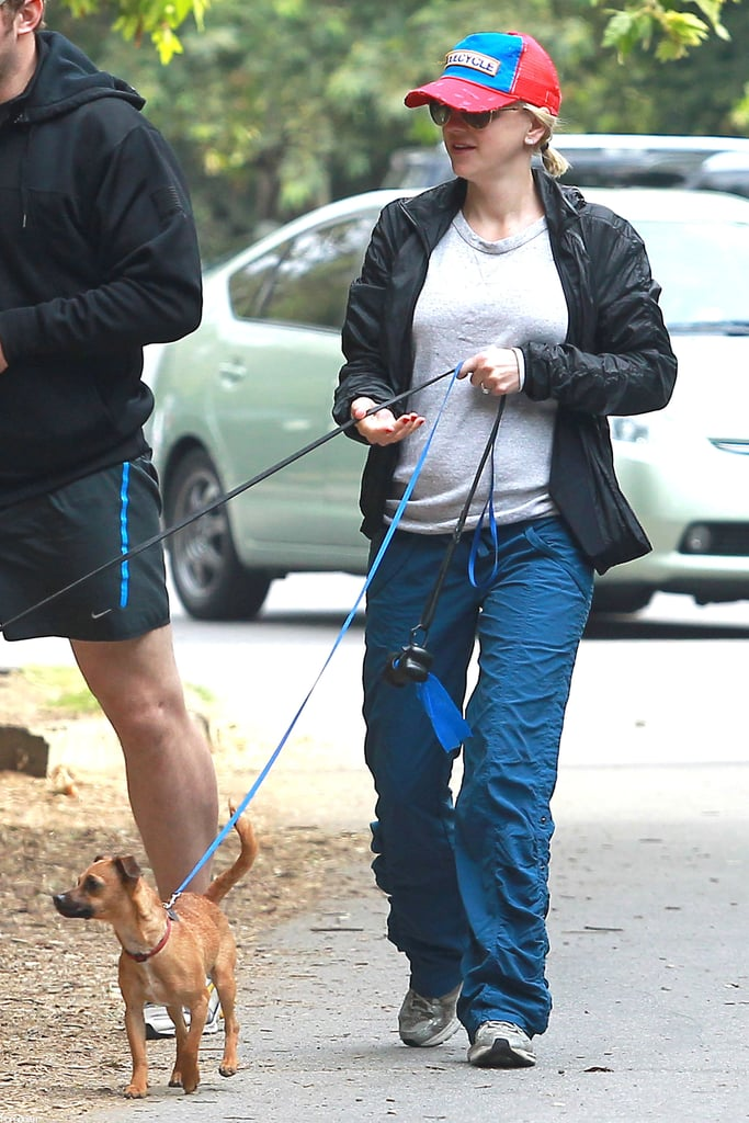 Anna Faris stayed active with her growing baby bump.