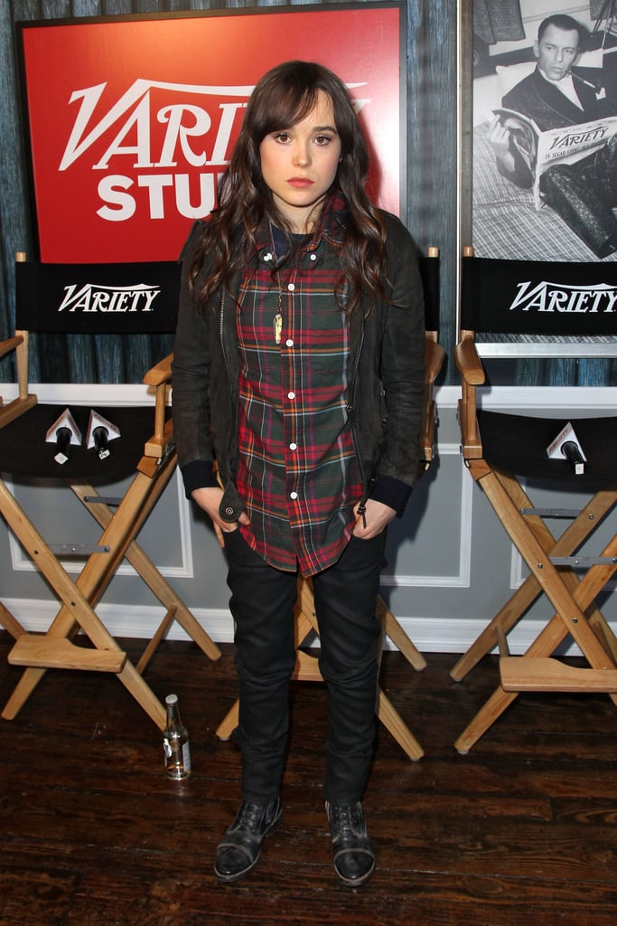 Ellen Page topped her denim with a wintry plaid button-down and cardigan. She finished off with combat boots by bed | stü.