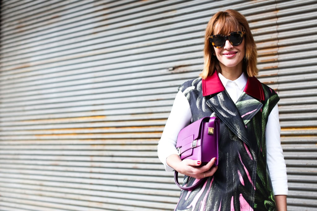A red manicure and pink lipstick paired perfectly with a lob and piecey bangs.