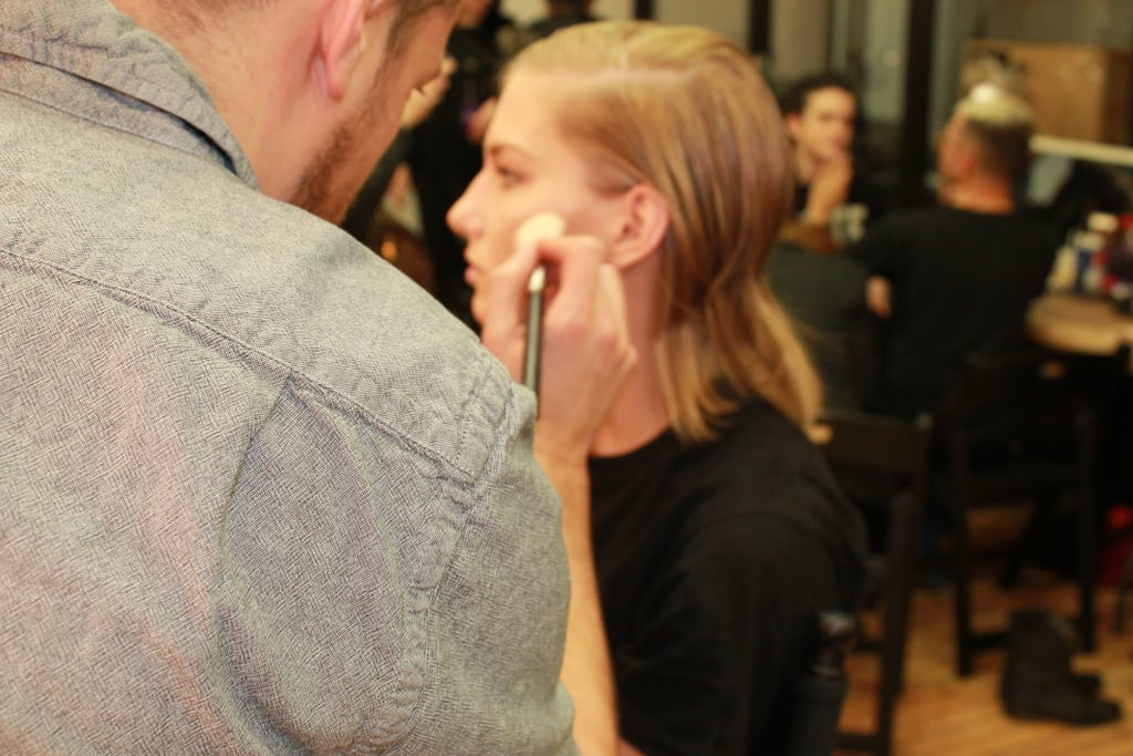 """""""Rebecca's collection is quite strong and definitely more tough than usual,"""" lead MAC makeup artist Sil Bruinsma said. To coincide with this strength, he went for a more structured, sharp makeup look that focused on shading."""
