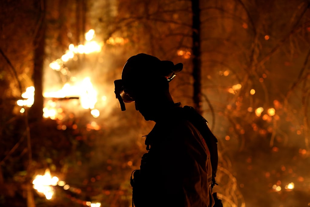 A firefighter monitored the flames while battling the Rim Fire.