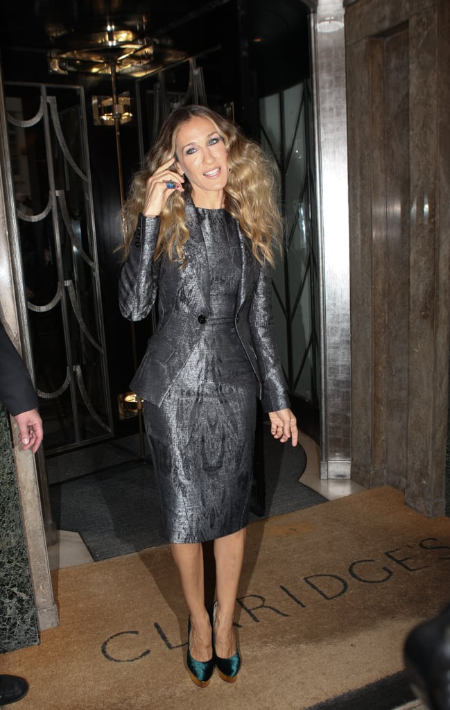 SJP hit the London streets in a pewter metallic sheath with a coordinating tuxedo jacket, both by Antonio Berardi, and emerald Charlotte Olympia pumps in September 2011.