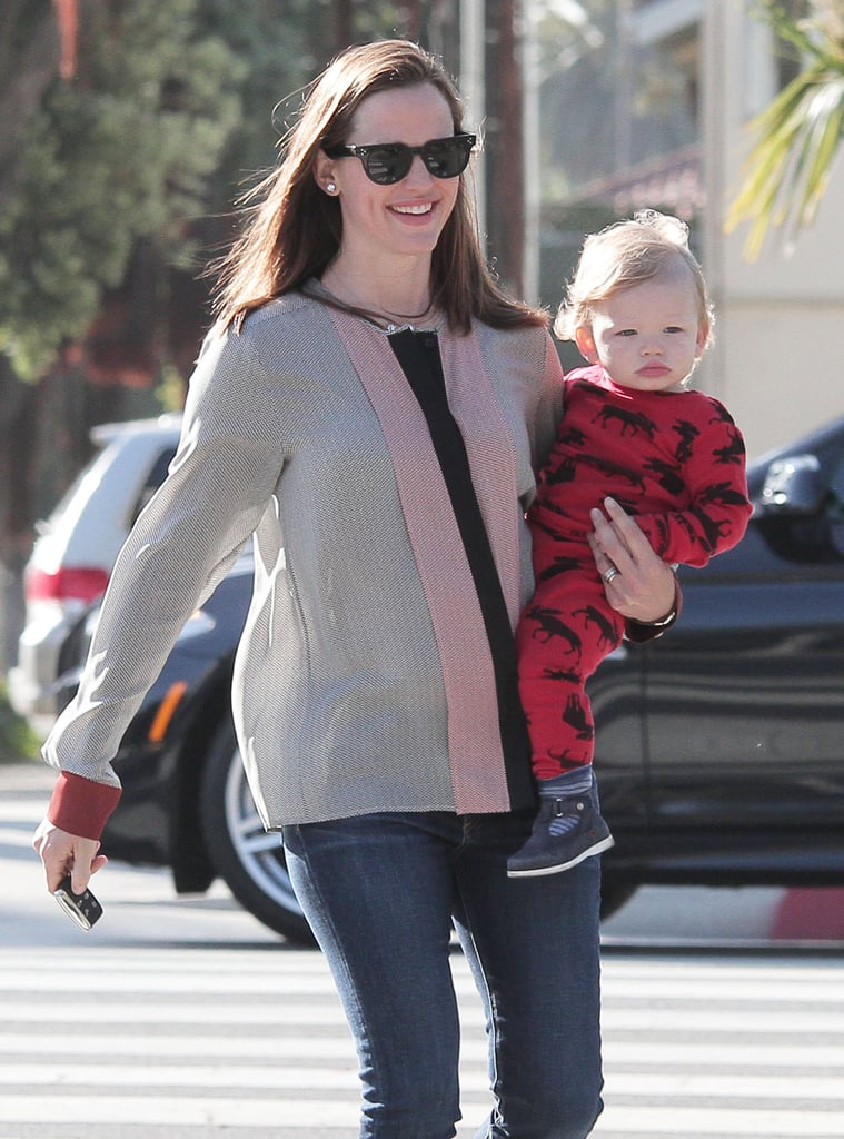 Samuel Affleck wore pajamas while out in LA with Jennifer Garner.