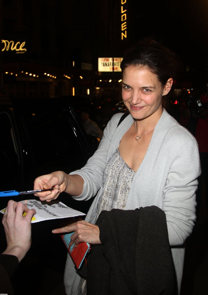 Katie Holmes greeted fans outside of her Broadway show.
