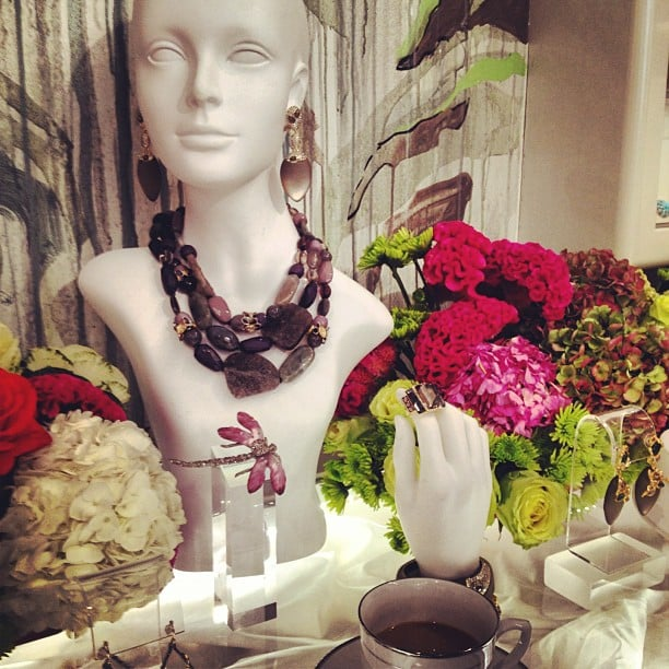 Gorgeous flowers and jewelry at Alexis Bittar — what more could we ask for?