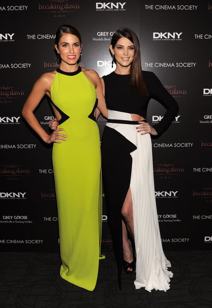 Ashley Greene and Nikki Reed wore graphic dresses to a Breaking Dawn screening in NYC.