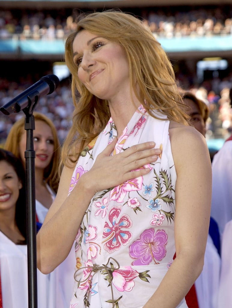 Celine Dion sang in a halter top.