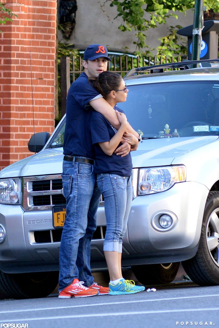 Mila Kunis and Ashton Kutcher Share a Hug in Matching Outfits