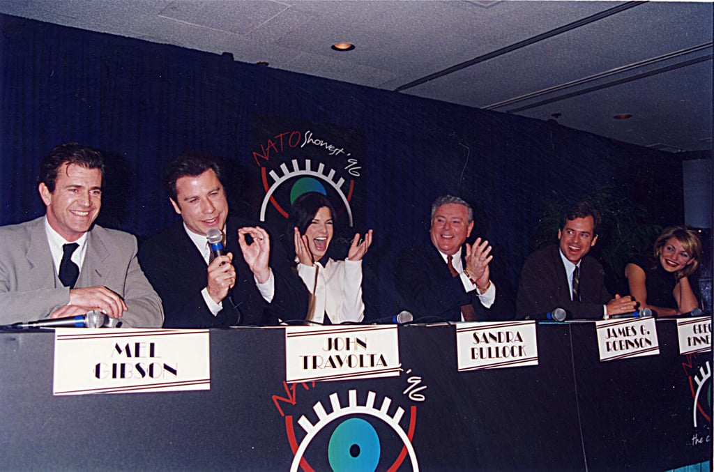 She cracked up during a September 1996 ShoWest panel with fellow actors Mel Gibson, John Travolta, Greg Kinnear, Cameron Diaz, and James Robinson.