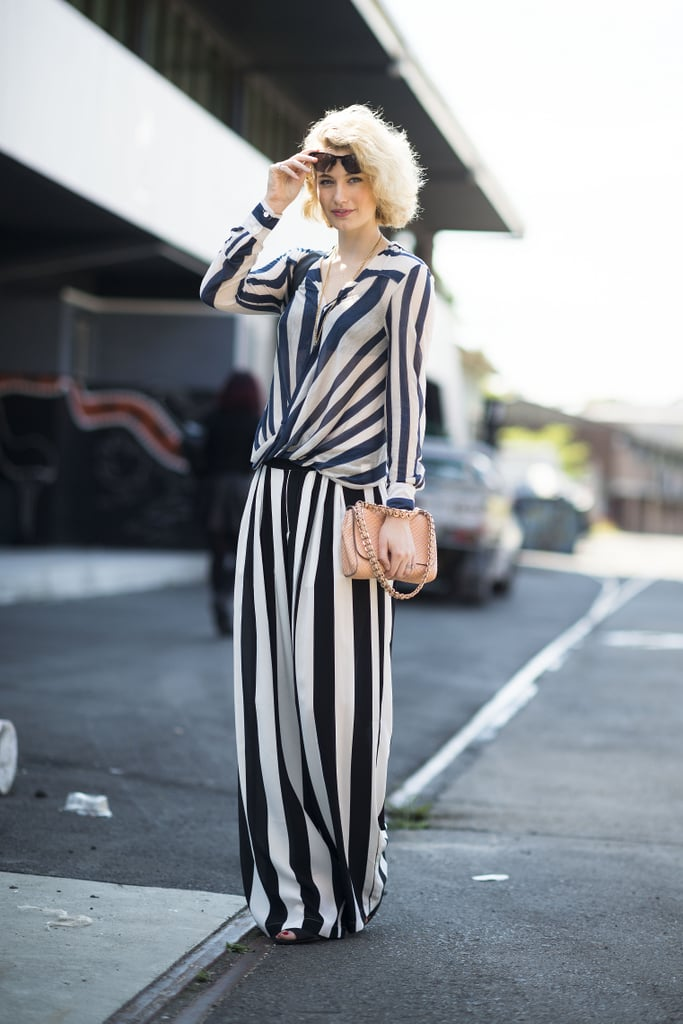 Spring's striped trend was in full force in this sophisticated ensemble. Source: Le 21ème | Adam Katz Sinding