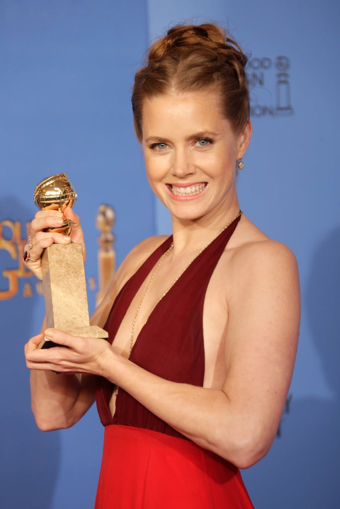Cheese! Amy Adams held her trophy proudly.