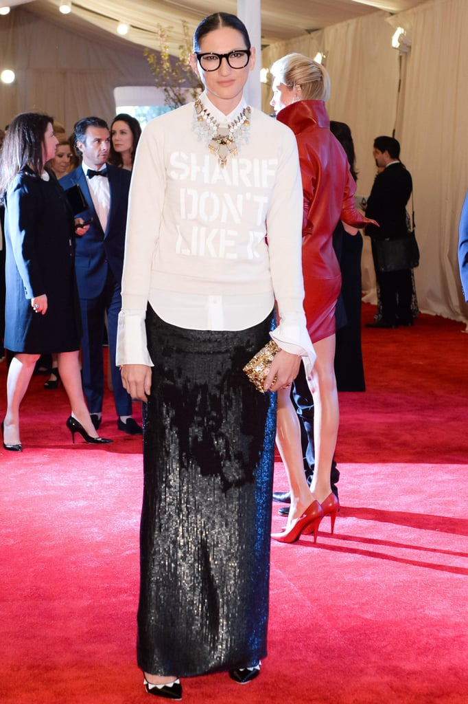 Lyons's brilliance comes through with her brave mix and matching. Sequin maxi skirt with button-down and layered tee at the Met Gala? No problem.