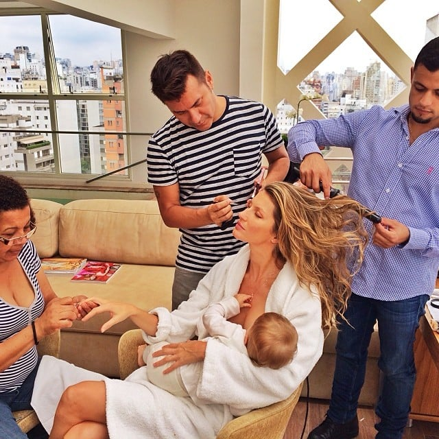 Gisele Bündchen multitasked in a major way as she got her hair, makeup, and nails done while breastfeeding her daughter, Vivian. Source: Instagram user giseleofficial