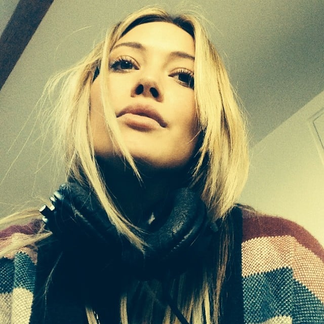 Hilary Duff snapped a selfie while bundled up at the studio. Source: Instagram user hilaryduff