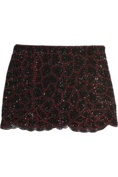 Just a little sequined decadence to counter your favorite army green anorak and utilitarian booties for the ultimate in street-styled looks.   Haute Hippie Beaded Silk Mini Skirt ($695)