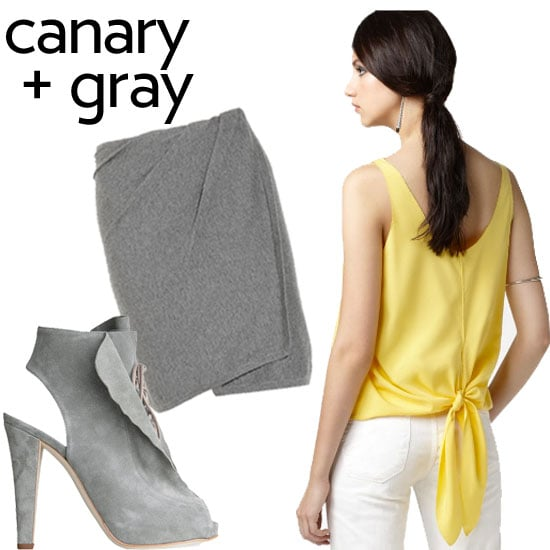 """""""I also love canary with shades of gray,"""" said Roy. We think this classic pairing is perfect for now and later into Fall.  Thakoon Koko Suede Peeptoe Oxford ($239, originally $795), Donna Karan Wrap-effect cashmere-blend skirt ($795), Rachel Rachel Roy Knot Top ($34, originally $64)"""