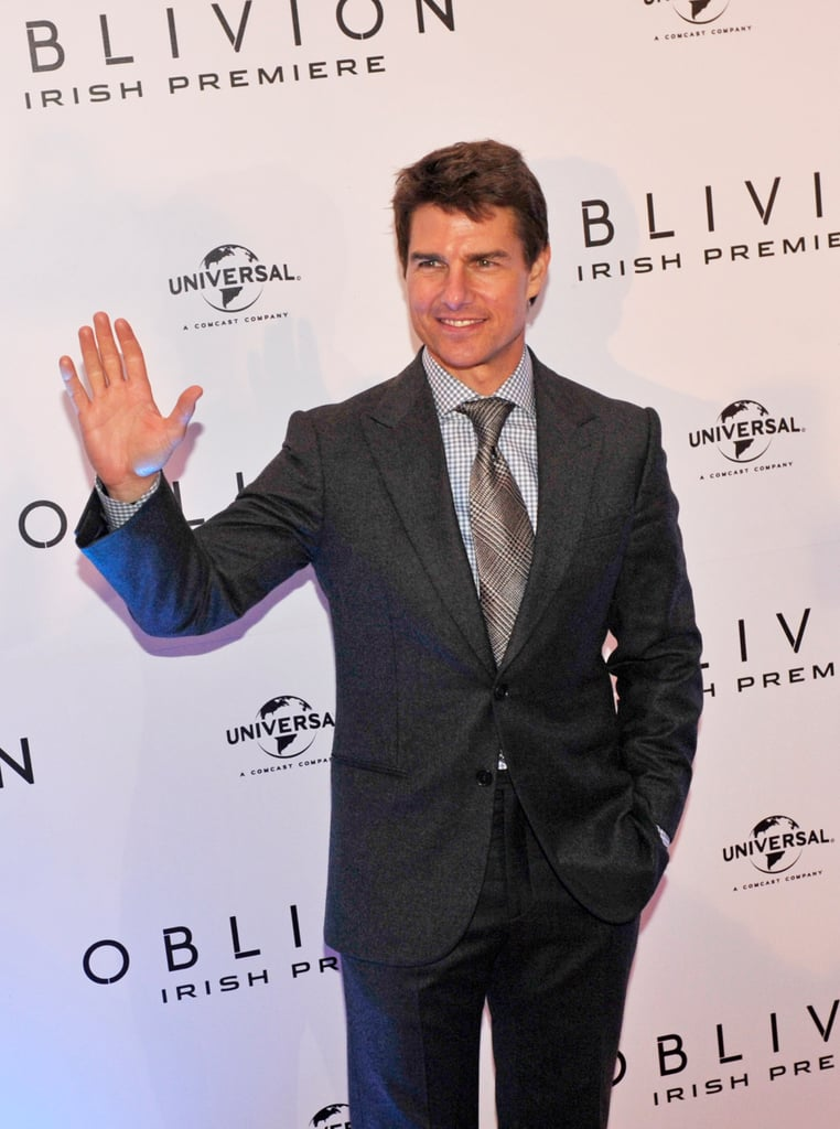 Tom Cruise waved to fans in Dublin.