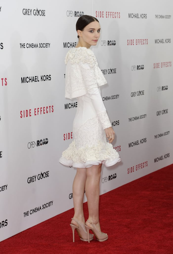 Rooney Mara wore a white dress.
