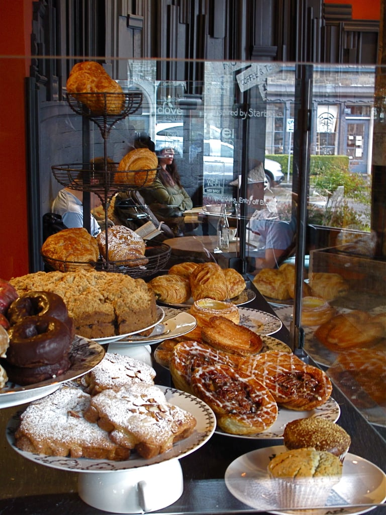Upon entering, diners face a giant spread of baked goods that have been merchandised completely differently from the pastries at most Starbucks stores.