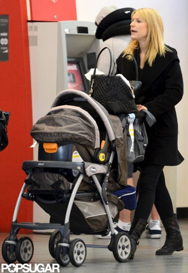Claire Danes traveled out of LAX with baby Cyrus in his stroller.