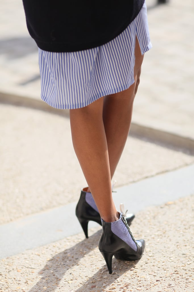 Chic lace-ups that mimicked the colors of her outfit — now that's coordinated.
