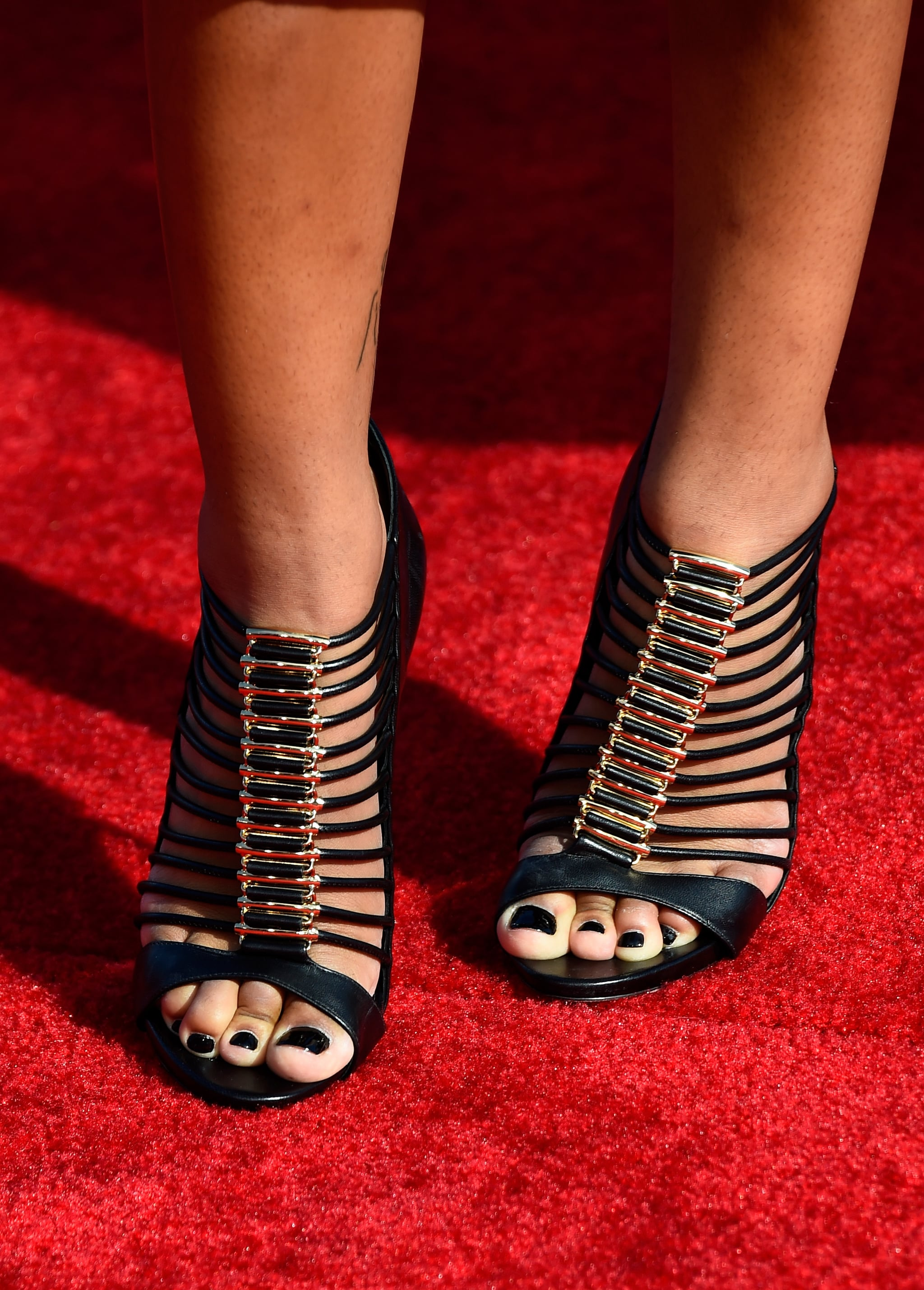 We were totally into the strappy effect of Chanel Iman's Casadei cage sandals.