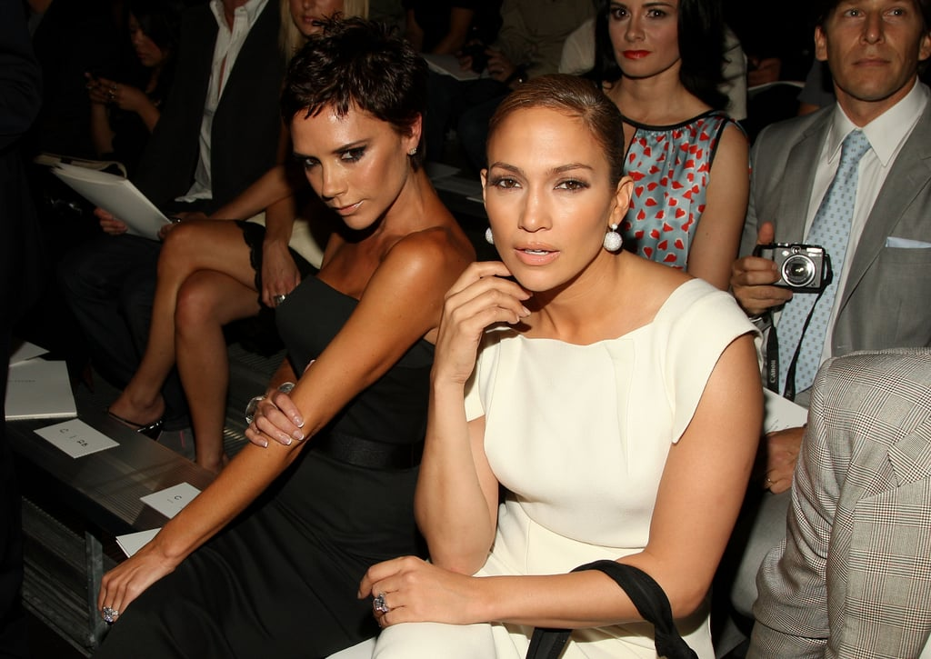 Victoria Beckham and Jennifer Lopez showed their love for Marc Jacobs in NYC in September 2008.