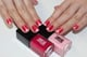File and shape your nails to a natural square shape. Apply a base coat like Jin Soon Power Coat ($18). Apply Jin Soon Dolly Pink ($18) on the entire nail bed. With a thin brush, create the tulip petals with Jin Soon Cherry Berry ($18).  Starting at the cuticle area, draw a straight line down toward the tip of the nail, curving left three-fourths of the way down to create an arch, and then fill in the shape. Repeat on the right side of the same nail to create a mirroring shape. Apply top coat like Jin Soon Top Gloss ($18) for a lasting glossy finish.