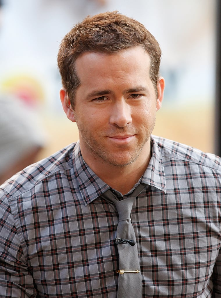 Ryan Reynolds wore a plaid shirt and a gray tie.