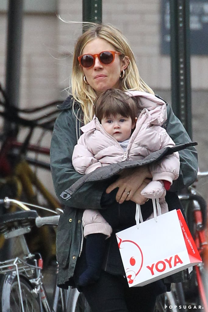 Sienna Miller carried Marlowe Sturridge for a day of shopping in NYC.