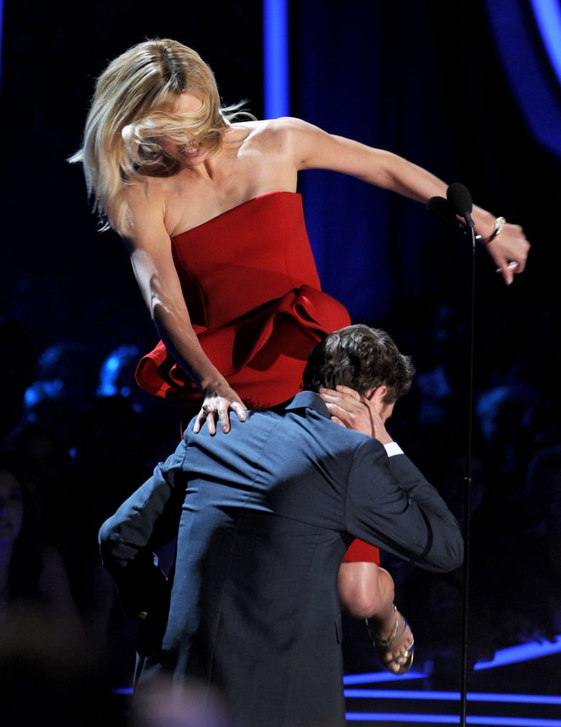 Charlize Theron and Michael Fassbender acted out a fight on stage.